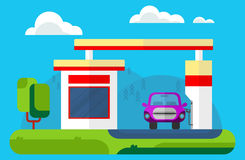 The car at a gas station. Outdoor landscape. Vector flat cartoon Stock Photos