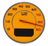 Car gauge. A yellow speedometer gauge with a red marker Stock Photography