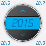Car gauge with 2015 text. Car gauge with 2015 year on lcd display Stock Photos