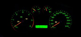 Car gauges. Modern car gauges at night Stock Photography