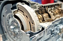Car gear box with automatic transmission. Cross section of a car gear box with automatic transmission royalty free stock photography