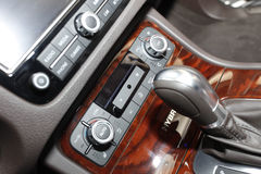 Car gear shfiter and AC control panel Royalty Free Stock Photos