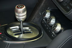 Car gear stick. Gear stick and interior in a modern car Stock Photos