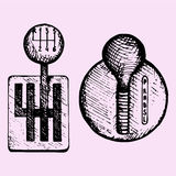 Car gear stick. Doodle style, sketch illustration, hand drawn, vector Royalty Free Stock Photos