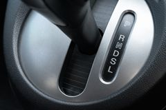 Car gearbox lever in driver place. Car gearbox lever inside driver place royalty free stock images