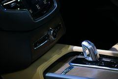 Car gearbox. Lever in luxury car Royalty Free Stock Photos