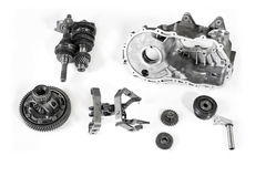 Car gearbox parts. Automotive gearbox parts on a white background Stock Photo