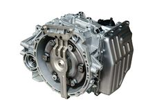 Car gearbox on white background. New car automatic transmission on a white background royalty free stock photo