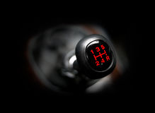 Car gearstick. Closeup of a car 5 speed gearstick Royalty Free Stock Photos
