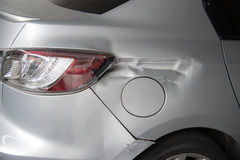 Car get damaged by accident on the road Stock Image