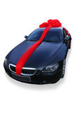 Car - gift. The modern car as a gift. Isolated on a white background Royalty Free Stock Photography