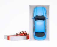 Car in gift box on white Royalty Free Stock Photography