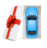 Car in gift box on white, top view Stock Photography