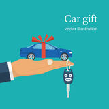 Car gift concept vector. Car gift concept. Man holding in hand on palm auto with red ribbon. Vector illustration flat design. Best offer cars for sale, rent Stock Photo