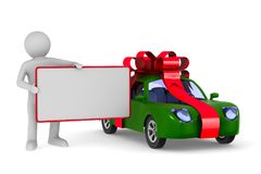 Car in gift packing on white background. Isolated 3D illustration Stock Photos