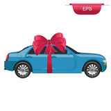 Car gift, surprise, graphic design element, vector illustration, flat style Stock Images