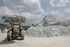 Car glass recycling plant Stock Photo