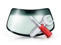 Car glass repair vector illustration