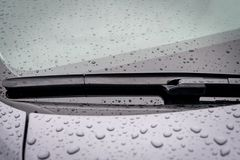 Windshield wiper blade in rainy weather