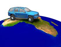 Car on the globe. 3D render of a car on globe Royalty Free Stock Photos