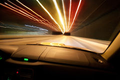 Car goes on  night city Royalty Free Stock Photo