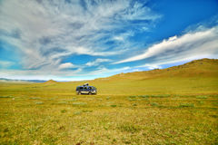 Car going beautiful mongolian offroad Royalty Free Stock Image