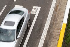 Car going by highway. View from above. Car in motion Royalty Free Stock Photography
