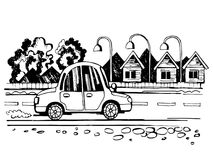 The car is going on the road sketch. The car goes to the village on the way. Stylized vector sketch royalty free illustration