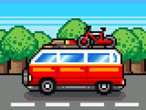 Car going for summer holiday trip - retro pixel illustration Stock Photo