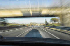 Car going too speedy. On the highway Royalty Free Stock Images