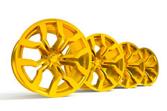 Car gold alloy wheel isolated over white Royalty Free Stock Photo