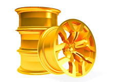 Car gold alloy wheel  over white. Set of car gold wheels  over white - 3d render Stock Images