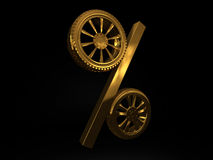 Car golden wheel sale 3d rendering. Tyres with a percent. Present. 3D Icon  on black background Royalty Free Stock Image