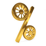 Car golden wheel sale 3d rendering. Tyres with a percent. Present. 3D Icon isolated on white  background Stock Photos