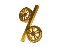 Car golden wheel sale 3d rendering. Tyres with a percent. Present. 3D Icon  on white  background Royalty Free Stock Image