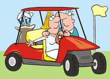 Car-golf, couple. Lovers ride in a golf cars. Humorous illustration Royalty Free Stock Photo