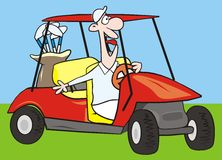 Car-golf. A man rides in a golf car. Humorous illustration vector illustration