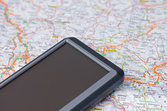 Car gps and map Stock Photography