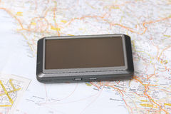 Car gps and map Royalty Free Stock Photo