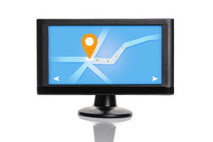 Car GPS Navigation Device Isolated on White Background Royalty Free Stock Photo