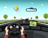 Car with GPS Navigation on Road. Hands on Steering Wheel with Sunny Day. And Rural Landscape Behind the Window vector illustration