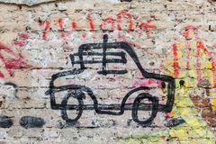 Car grafitti on the wall. Painted car grafitti on the wall royalty free stock photos
