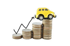 Car and graph on money for business concept with clipping paths. Saving money concept Stock Image