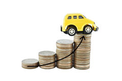 Car and graph on money for business concept with clipping paths. Saving money concept Royalty Free Stock Image