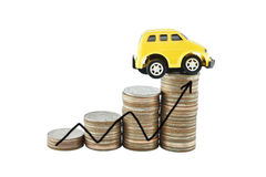 Car and graph on money for business concept with clipping paths. Saving money concept Stock Photo