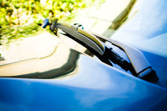 Car with grasses reflection Royalty Free Stock Photography
