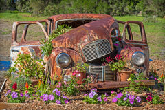 Car Grave With Flowers Royalty Free Stock Photo