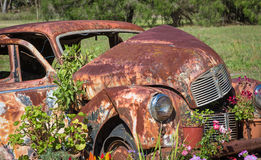 Car Grave With Flowers Royalty Free Stock Image