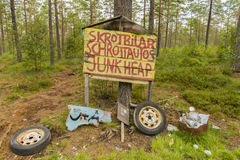Car Graveyard Sign in Smaland Stock Photos