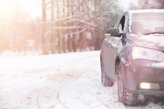 The car is gray on the road in the forest. A trip to the country Royalty Free Stock Photos